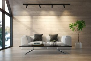 Decoración Viviendas Interior living room of a forest house 3D rendering