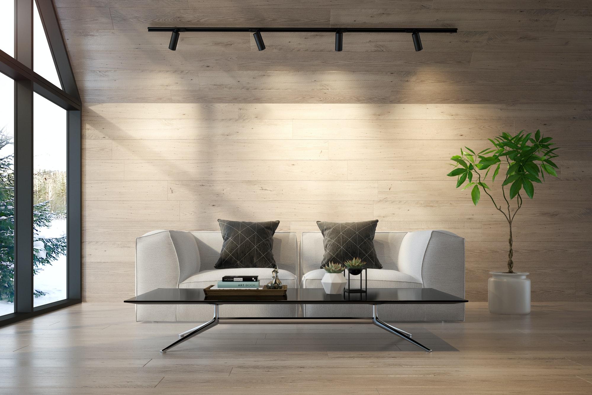 Decoración Viviendas Interior living room of a forest house 3D rendering